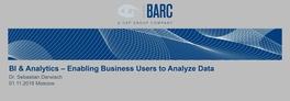 BI & Analytics – Enabling Business Users to Analyze Data